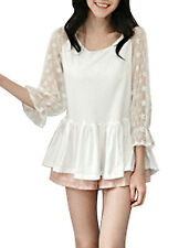 Women Crochet Flower Decor Flouncing Hem Peplum Top
