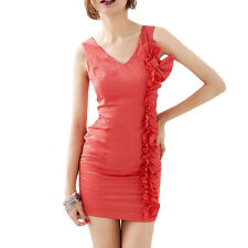 Sleeveless Ruffled Detail Formfitting Mini Dress for Ladies