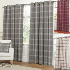 EYELET Ring Top WOOL Feel Heavy Highland Tartan Plaid Check Lined Curtains