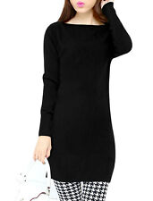 Women Boat Neck Long Sleeves Slim Fit Tunic Knit Top