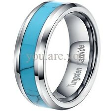 Tungsten Carbide Wedding Band Ring Mens Black Carbon Fiber Inlay 8mm Size 8-12