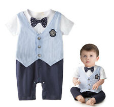 Baby Newborn Gentleman Romper Boy Bodysuit Bowknot Outfits Toddler Playsuit Set