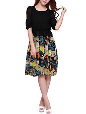 Lady Round Neck Layered Floral Prints Casual Dress
