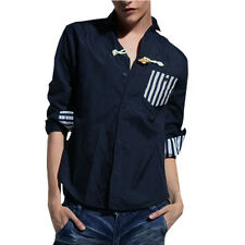 Mens Stylish Point Collar Long Sleeve Button Down Casual Shirt