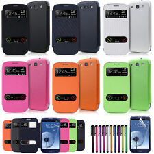 Flip PU Leather Case +Film +Stylus Window Case Cover For Samsung Galaxy S3 i9300