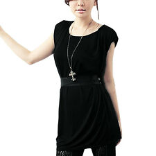 Ladies Pullover Scoop Neck Sleeveless Tunic Shirt w Waist String