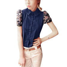 Lady Point Collar Short Sleeve Button Closure Panel Casual Shirt