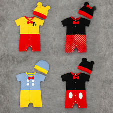 2pcs Newborn Babygrows Kids Mickey Bodysuits Clothes Boys Rompers Outfits 0-24M