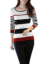 Lady Scoop Neck Long Sleeve Stretchy Stripes Pullover Knit Shirt