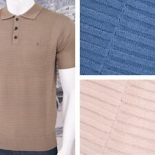Gabicci Vintage Mod Retro 60's S/S Ribbed Pannel Knit 3 Button Polo Shirt (3 Col