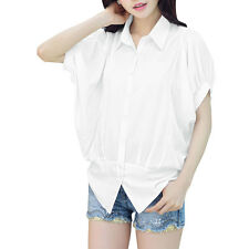 Ladies Button Down Point Collar Batwing Sleeve Ruched Casual Shirt