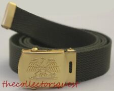 NEW GOLD EAGLE ADJUSTABLE OLIVE CANVAS MILITARY GOLF WEB BELT VINTAGE BUCKLE