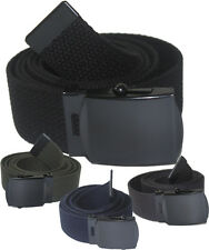 NEW ADJUSTABLE CANVAS MILITARY WEB BELT BUCKLE BLACK NAVY BLUE GREY OLIVE GREEN