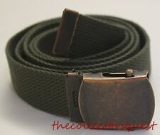 NEW RUSTIC ADJUSTABLE OLIVE CANVAS MILITARY GOLF WEB UNIFORM BELT BRONZE BUCKLE