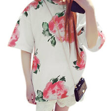 Woman Floral Prints Round Neck Half Length Sleeves Pullover Tunic Tee