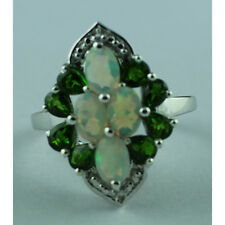 Solid Gold Opal,Topaz,Chrome Diopside Right Hand Ring GSR340