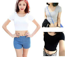 New Fashion Sexy Womens Ladies Plain Tee Scoop Neck Cap Sleeve Crop Top Vest