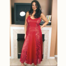 Plus Size Lingerie Sizes 1X 2X or 3X Red Long Gown Lace Panels  8742X