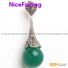 16mm Round Stone Bead Marcasite Tibetan Silver Pendant Mother Day Gift For Women