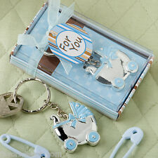 80 Blue or Pink Baby Carriage Key Chain Favors Baby Shower Favor Boy or Girl