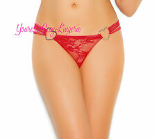 Sexy Triple Strap LACE G-STRING Silver Metal Heart RINGS DARK RED 10% Spandex