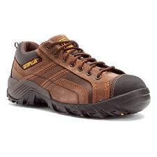 CATERPILLAR MENS COMP TOE ARGON WORK SNEAKERS DARK BROWN LEATHER! P89957~NIB