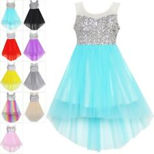Girls Dress Flower Sequin Mesh Party Wedding Princess Tulle Blue Age 7-14Pageant