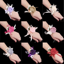 Bridal Wrist Flower Bridesmaid Corsage Rose Ribbon Bracelet Wedding Decoration