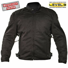 Men Black Mesh Padded w/Level-3 Advanced Armored Motorcycle Jacket CF-2157