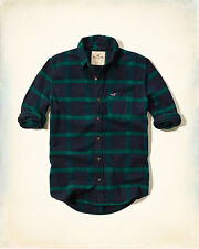 NWT Hollister by Abercrombie Mens Plaid Flannel Shirt navy/green 100% Cotton