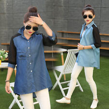Cool Women Girl Blue Denim Plue Size Loose Coat Outerwear Coat Jacket Jean