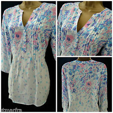 NEW M&CO TOP KAFTAN TUNIC BLOUSE IVORY PINK BLUE SUMMER BEACH FLORAL SIZE 8 - 20