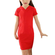 Girls Short Sleeves Kangaroo Pocket Hooded Sheath Dress