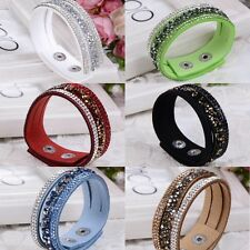 New Cuff Wristband Leather Girls Crystal Wrap Bangle Bracelet Jewelry Gift Hot