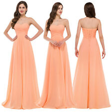 Coral Strapless Long Bridesmaids Evening Prom Gown Ball Pleated Maxi Party Dress