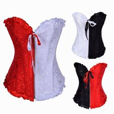 Wedding Bridal Color Block Women's Bustier Corset Basque Overbust Shaperwear Bow
