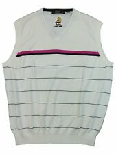 Carnoustie Mens Golf Pullover VNeck Sleeveless Sweater Vest  Bali Hai Logo White