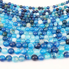 Lots 1Bunch Charm Blue Stripes Agate Round Loose Bead Pendant Necklace Jewelry