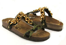 Sam Edelman Allyn Camouflage Open Toe Chain Accent T-Strap Slide On Sandals
