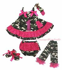 Birthday 1ST Pink Camouflage Swing Top Baby Girl Bloomer Shoes Leg Warmer NB-2Y