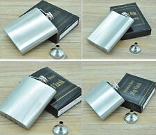 Stainless Steel Hip Liquor Whiskey Alcohol Flask Cap 4 5 6 8 10 Oz + Funnel