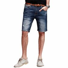 Fashion Mens Casual Fifth pant Jeans short Trousers Slim Straight Leg Blue 29~36