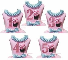 1ST 2ND 3RD 4TH 5TH Birthday Cupcake Bling Blue Lacing Baby Girl Pink Top Shirt