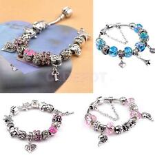 DIY Silver Heart Beads Rhinestone Crystal Women Lady European Bracelet Jewelry