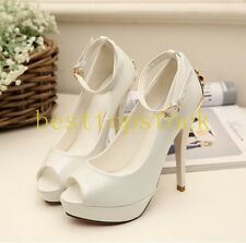 Hot Sale PU Leather Peep Toes Open Toes Platform Stilettos High Heels Ball Shoes