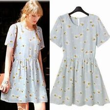Trendy Flower Print Crew Neck Short Sleeve Chiffon Women Mini Dress Tunic Lined