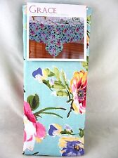 """Assorted Sizes """"Grace"""" Pink Purple Blue Oversized Floral Fabric Tablecloth"""