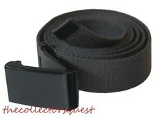 "NEW 1.5"" inch WIDE FLIPTOP ADJUSTABLE GREY CANVAS MILITARY WEB BLACK BELT BUCKLE"
