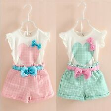Toddler Kids Baby Girls Summer Outfits Clothes T-shirt Tops+Plaid Pants 2PCS Set