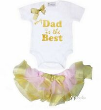 Baby Pink Gold Satin Trimmed Tutu Sparkle My Dad Is The Best Father's Day Onesie